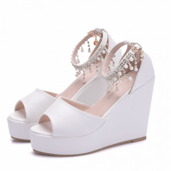 Modern / Fashion White Casual Wedges Womens Shoes 2018 Pearl Rhinestone Tassel Ankle Strap Open / Peep Toe
