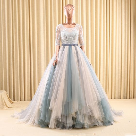 Chic / Beautiful Prom Dresses 2017 1/2 Sleeves Beading Ruffle Tulle Sash Backless Chapel Train Formal Dresses