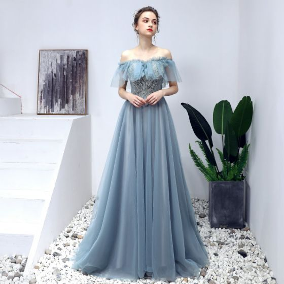 Elegant Pool Blue Prom Dresses 2019 A-Line   Princess Off-The-Shoulder  Beading Pearl Lace Flower Short Sleeve Backless Floor-Length   Long Formal  Dresses 2329d0acda7a