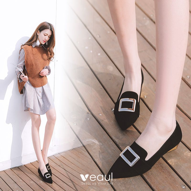 Chic / Beautiful Outdoor / Garden Womens Shoes 2017 Leather Low Heel Pointed Toe Sandals