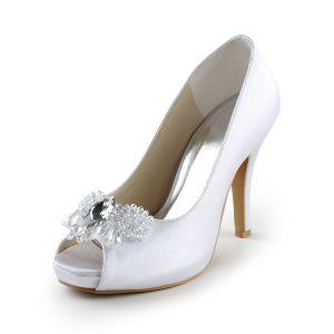 Eleganckie Białe Buty Ślubne Satynowe Szpilki Peep Toe Czółenka Z Kryształu