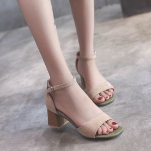 Discount Beige Casual Womens Sandals 2018 Suede Ankle Strap 5 cm Thick Heels Open / Peep Toe Sandals