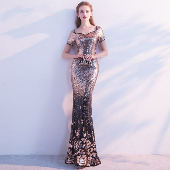 Chic / Beautiful 2017 Gold Evening Dresses  V-Neck Backless Trumpet / Mermaid Polyester Homecoming Evening Party Formal Dresses