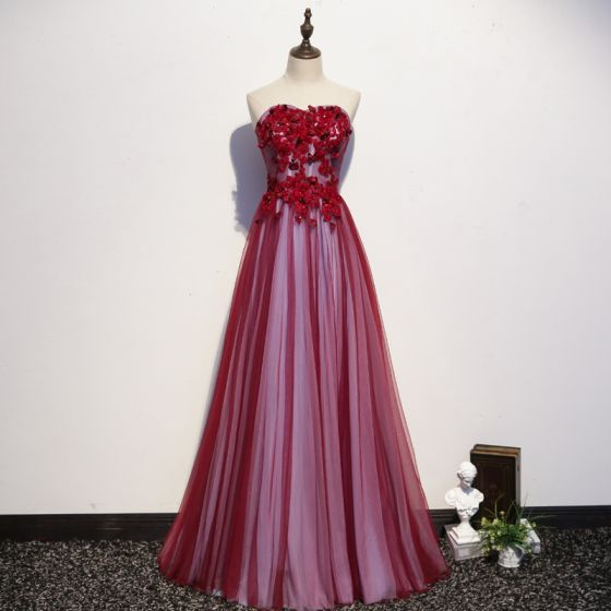 Classy Burgundy Evening Dresses  2020 A-Line / Princess Strapless Crystal Appliques Lace Flower Sleeveless Backless Floor-Length / Long Formal Dresses