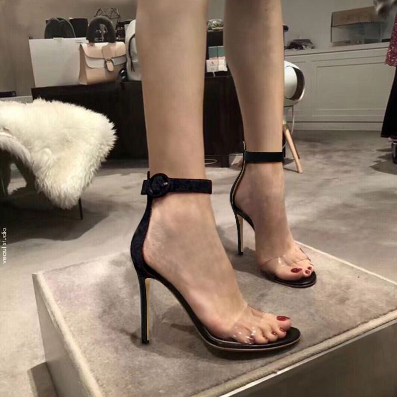 Modern / Fashion Black Casual Womens Sandals 2019 Ankle Strap 10 cm Stiletto Heels Open / Peep Toe High Heels