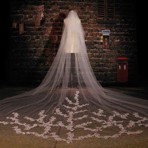 Super-luxus-langen Weißen Spitzenschleier Weichen Brautschleier