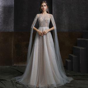 Iluzja Szary Przezroczyste Sukienki Wieczorowe 2020 Princessa Wycięciem Bez Rękawów Frezowanie Rhinestone Trenem Sweep Wzburzyć Sukienki Wizytowe
