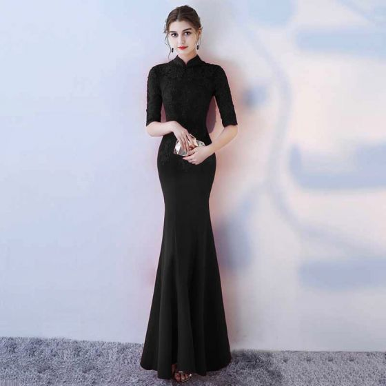 Chinese style Black Evening Dresses  2017 Trumpet / Mermaid High Neck 1/2 Sleeves Appliques Lace Floor-Length / Long Ruffle Backless Formal Dresses