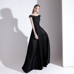 Chic / Beautiful Solid Color Black Evening Dresses  2020 A-Line / Princess V-Neck Sleeveless Backless Floor-Length / Long Formal Dresses
