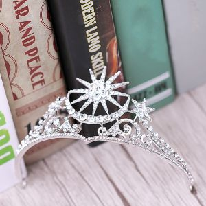 Chic / Beautiful Silver Bridal Jewelry 2017 Metal Beading Crystal Rhinestone Headpieces Wedding Evening Party Prom Accessories
