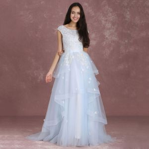 Elegant Sky Blue Prom Dresses 2018 A-Line / Princess Scoop Neck Sleeveless Appliques Lace Sequins Sweep Train Cascading Ruffles Backless Formal Dresses