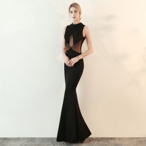Mode Schwarz Durchsichtige Abendkleider 2018 Mermaid Stehkragen Ärmellos Perlenstickerei Quaste Lange Festliche Kleider