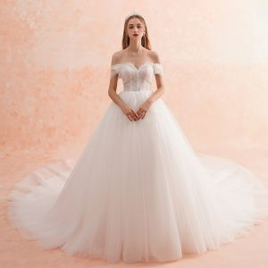 Charming Ivory Wedding Dresses 2019 A-Line / Princess Off-The-Shoulder Lace Crystal Short Sleeve Backless Royal Train