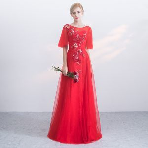 Chic / Beautiful Red Evening Dresses  2017 A-Line / Princess Appliques Lace Flower Crossed Straps Beading Scoop Neck Backless 1/2 Sleeves Floor-Length / Long Evening Party