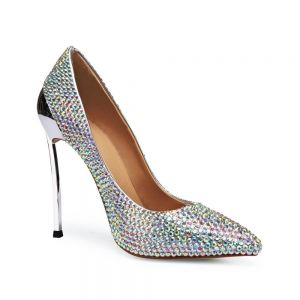 Charming Multi-Colors Rhinestone Wedding Shoes 2020 Leather 12 cm Stiletto Heels Pointed Toe Wedding Pumps