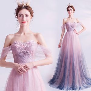Elegant Gradient-Color Purple Glitter Prom Dresses 2020 A-Line / Princess Off-The-Shoulder Crystal Pearl Appliques Lace Flower Sleeveless Backless Floor-Length / Long Formal Dresses