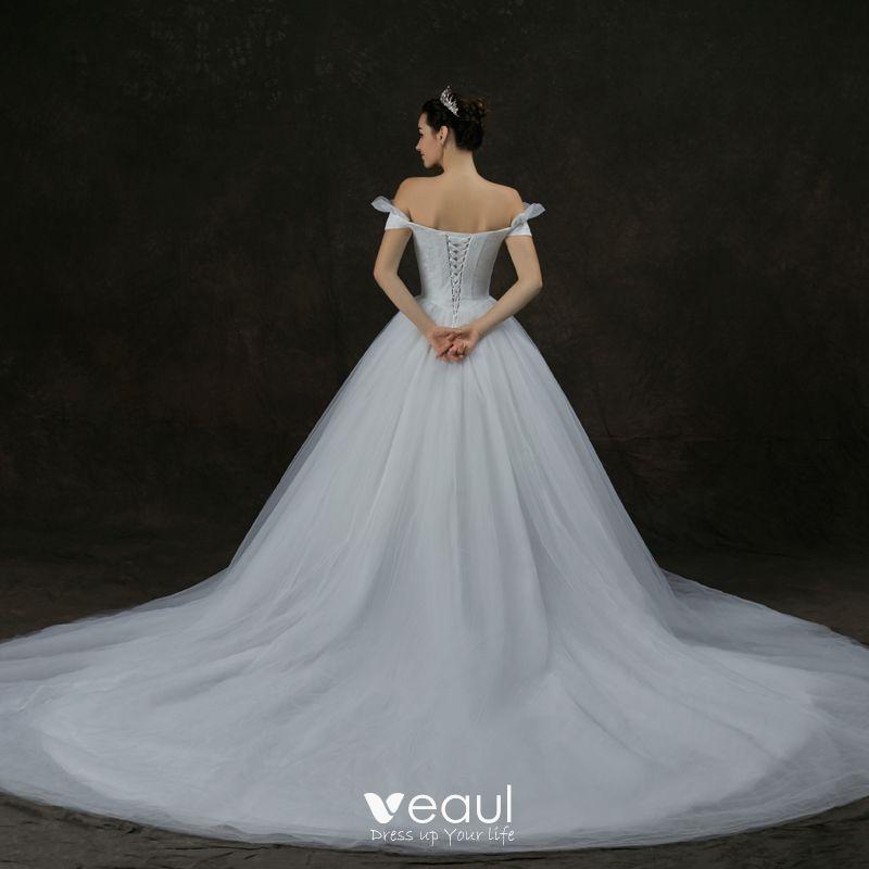 Short Sleeve Simple Wedding Dress: Modest / Simple White Wedding Dresses 2019 A-Line