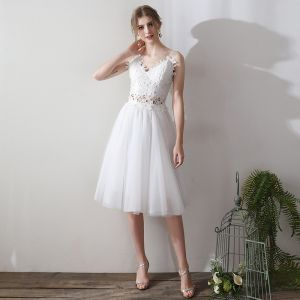 Lovely 2 Piece Short Evening Dresses  2018 A-Line / Princess White Tulle Appliques Backless Pierced Homecoming Formal Dresses