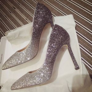Charming Gradient-Color Silver Wedding Shoes 2019 Sequins 10 cm Stiletto Heels Pointed Toe Wedding Pumps