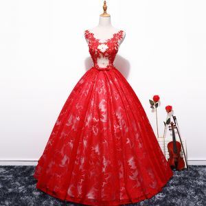 Chic / Beautiful Red Prom Dresses 2018 Ball Gown Tulle V-Neck Embroidered Appliques Backless Prom Formal Dresses