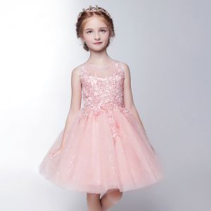 Chic / Beautiful Hall Wedding Party Dresses 2017 Flower Girl Dresses Blushing Pink Short Ball Gown Scoop Neck Sleeveless Lace Appliques Glitter Sequins