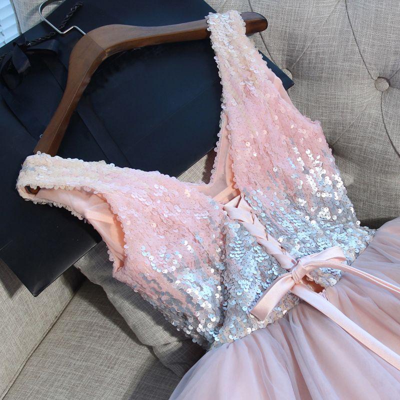 Sexy Perle Rose Robe De Cocktail 2018 Noeud Paillettes V-Cou Sans Manches Dos Nu Courte Robe De Ceremonie