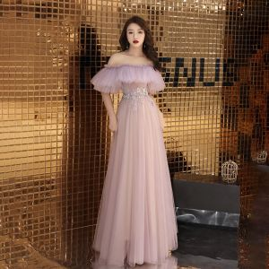 Classy Blushing Pink See-through Evening Dresses  2019 A-Line / Princess Off-The-Shoulder Short Sleeve Appliques Lace Rhinestone Floor-Length / Long Ruffle Backless Formal Dresses Spring