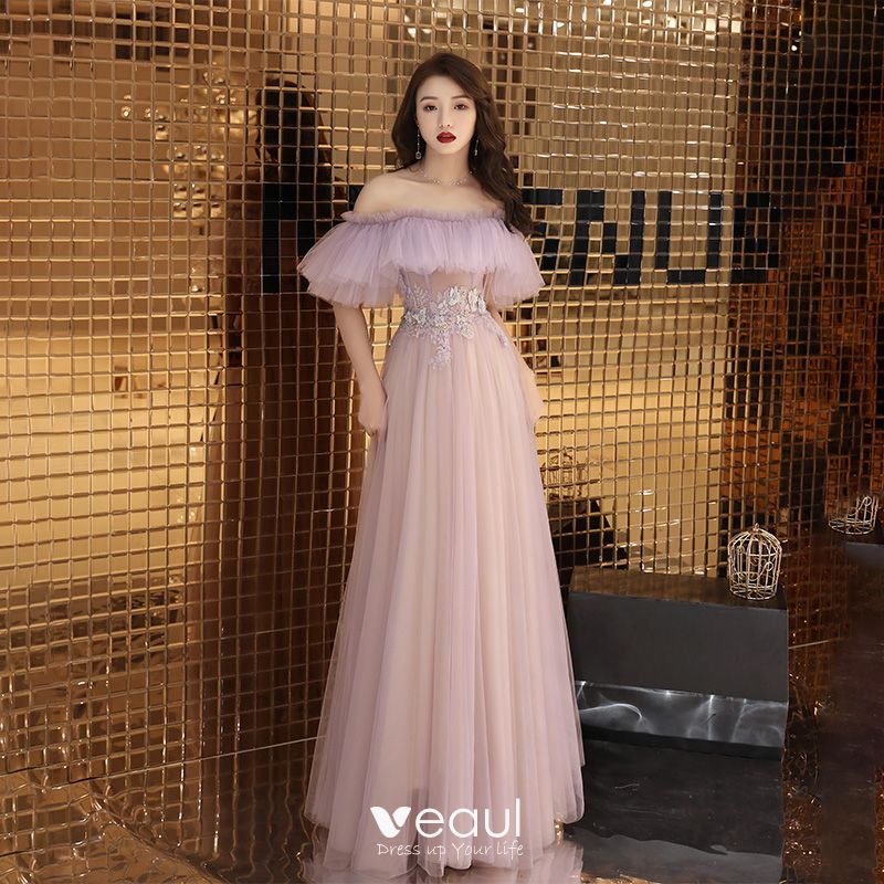 ace5b9ea4c5c Classy Blushing Pink See-through Evening Dresses 2019 A-Line / Princess  Off-The-Shoulder Short Sleeve ...