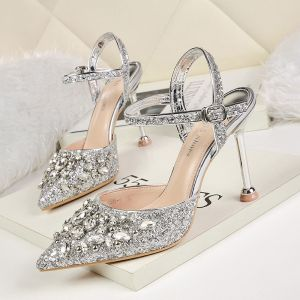 Sparkly Silver Evening Party Womens Shoes 2019 Ankle Strap Rhinestone Sequins 9 cm Stiletto Heels Pointed Toe High Heels
