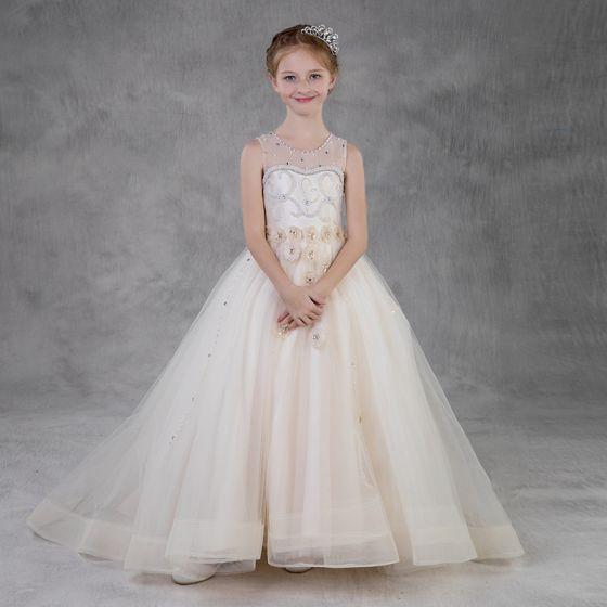 Elegant Champagne Birthday Flower Girl Dresses 2020 Ball Gown See-through Scoop Neck Sleeveless Backless Appliques Flower Rhinestone Beading Pearl Sweep Train Ruffle