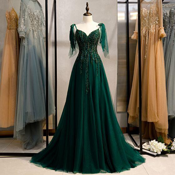 Elegancka Ciemnozielony Sukienki Wieczorowe 2020 Princessa Bez Rękawów Frezowanie Z Koronki Cekiny Spaghetti Pasy Bez Pleców Trenem Sweep Sukienki Wizytowe