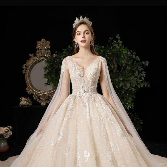 Luxury / Gorgeous Champagne Wedding Dresses 2020 A-Line / Princess V-Neck Beading Sequins Pearl Crystal Lace Flower Short Sleeve Backless Cathedral Train
