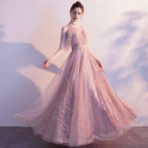 Chic / Belle Rougissant Rose Transparentes Robe De Soirée 2020 Princesse Encolure Dégagée Manches Courtes Gland Perlage Glitter Tulle Longue Volants Dos Nu Robe De Ceremonie