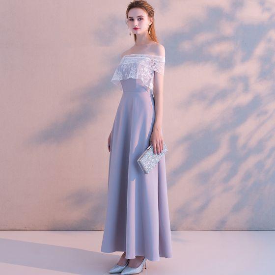 Elegante Lavendel Abendkleider 2019 A Linie Off Shoulder Spitze Kurze Ärmel Rückenfreies Lange Festliche Kleider