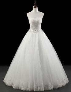 2015 Herrlich A-linie Trägerlosen Bodenlangen Brautkleid Kristall Hochzeitskleid
