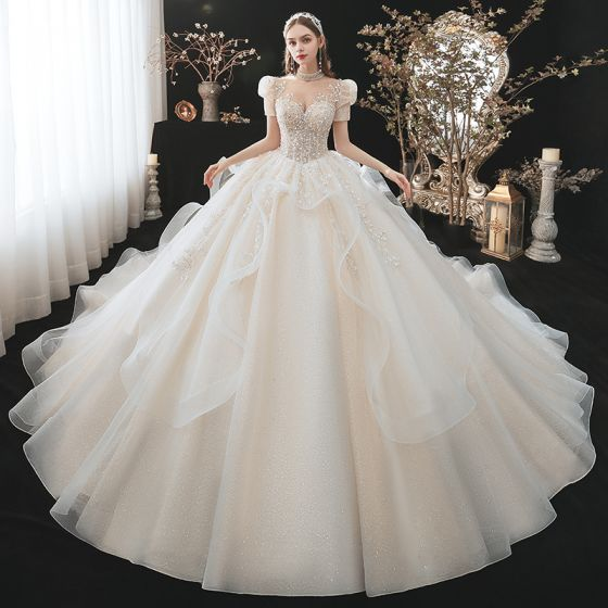 Fabulous Charming Champagne Cascading Ruffles Wedding Dresses 2021 Ball Gown High Neck Beading Sequins Appliques Short Sleeve Backless Royal Train Wedding