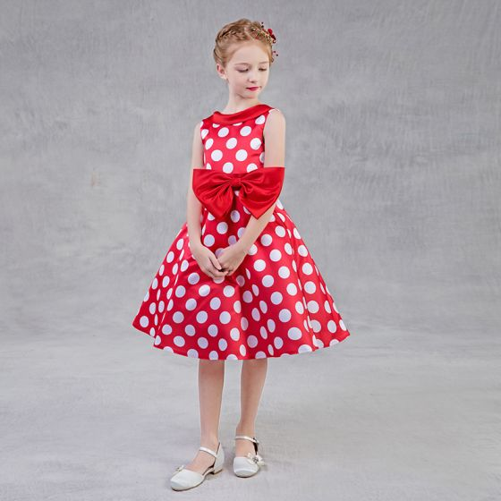 Chic / Beautiful Red Flower Girl Dresses 2018 A-Line / Princess Scoop Neck Sleeveless White Spotted Bow Sash Tea-length Ruffle Backless Wedding Party Dresses
