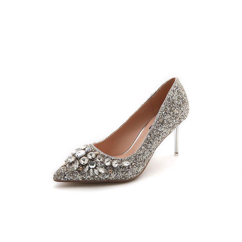 Scintillantes Cristal Chaussure De Mariée Argenté 2017 Glitter Talons Hauts Talons Aiguilles À Bout Pointu 7 cm Escarpins