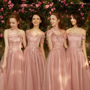 Chic / Belle Perle Rose Robe Demoiselle D'honneur 2018 Princesse Appliques Percé En Dentelle Longue Volants Dos Nu Robe Pour Mariage
