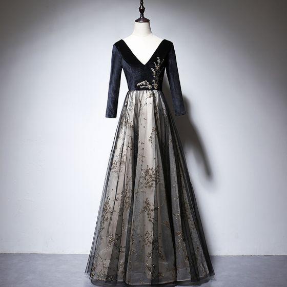 Chic / Beautiful Black Suede Evening Dresses  2020 A-Line / Princess V-Neck Long Sleeve Appliques Sequins Beading Floor-Length / Long Backless Formal Dresses