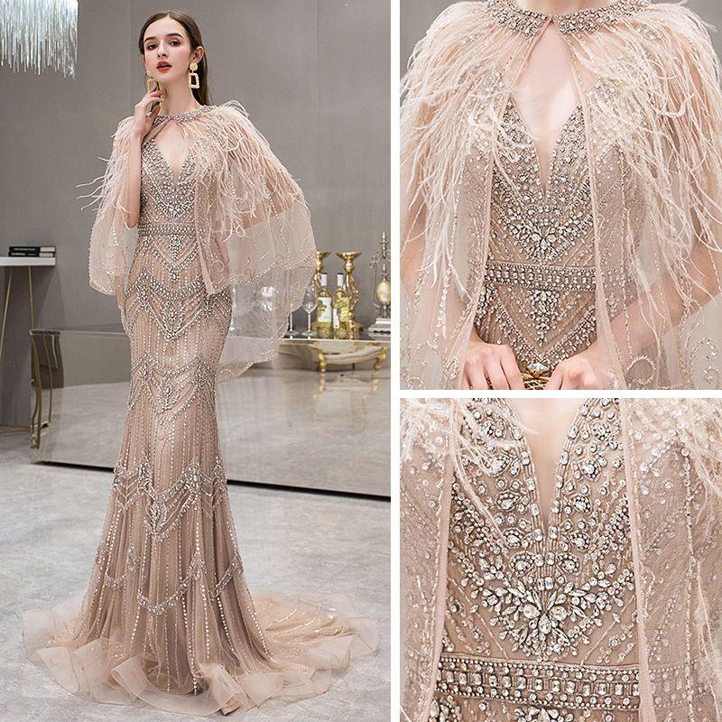 High-end Gold Evening Dresses  With Shawl 2019 Trumpet / Mermaid Deep V-Neck Sleeveless Handmade  Beading Rhinestone Feather Sweep Train Backless Formal Dresses