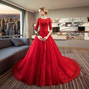 Elegante Rot Brautkleider 2018 Ballkleid Rundhalsausschnitt 1/2 Ärmel Rückenfreies Applikationen Mit Spitze Rüschen Königliche Schleppe