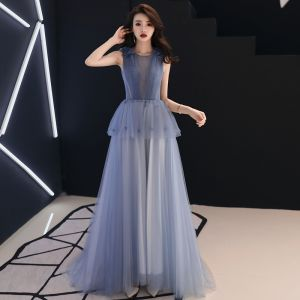 Classy Sky Blue See-through Evening Dresses  2019 A-Line / Princess Scoop Neck Sleeveless Appliques Flower Sweep Train Ruffle Backless Formal Dresses