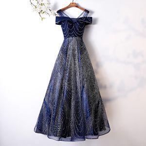 Charmant Glanz Marineblau Abendkleider 2019 A Linie Rundhalsausschnitt Kurze Ärmel Rückenfreies Lange Festliche Kleider