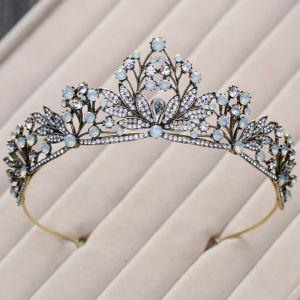 Elegante Klassieke Hemelsblauw Bruidssieraden 2017 Metaal Kralen Kristal Rhinestone Haaraccessoires Gala Huwelijk Accessoires