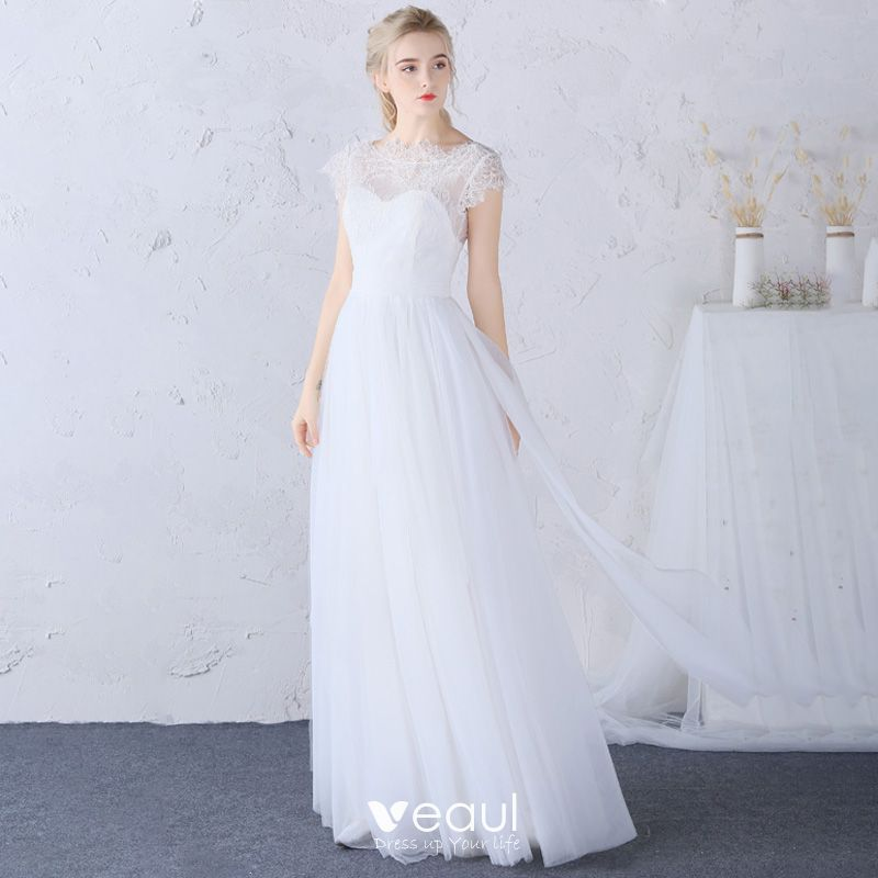 Chic / Beautiful Beach Wedding Dresses 2017 White Sheath / Fit Floor-Length / Long Scoop Neck Sleeveless Backless Lace Appliques