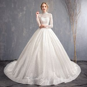 Elegant White Wedding Dresses 2018 A-Line / Princess Appliques Lace High Neck Backless Long Sleeve Chapel Train Wedding