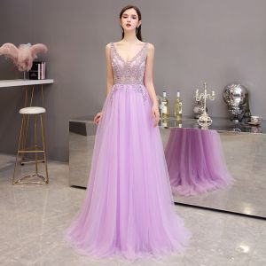 High-end Lavender Evening Dresses  2020 A-Line / Princess See-through Deep V-Neck Sleeveless Beading Court Train Ruffle Backless Formal Dresses
