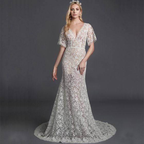 Modern / Fashion Sexy White Wedding Dresses 2020 Trumpet / Mermaid V-Neck Short Sleeve 3D Lace See-through Sweep Train Wedding