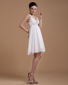 Sexy V Neck Ruffles Sash Mini Bridal Gown Chiffon Wedding Dresses
